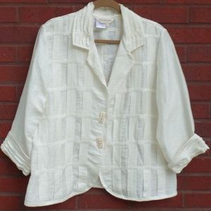 Norm Thompson Cream Linen Casual Jacket L